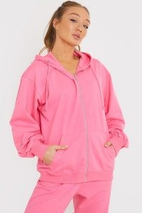JAC JOSSA PINK ZIP THROUGH LOOPBACK TRACKSUIT TOP ~ celebrity inspired sports fashion
