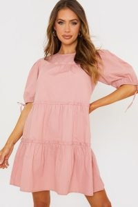 JAC JOSSA ROSE POPLIN TIERED SMOCK DRESS ~ pink celebrity inspired dresses