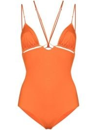 Jacquemus Le maillot Pila cut-out swimsuit in orange | bright strappy plunging swimsuits