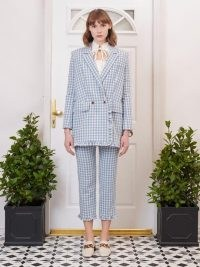 sister jane Postmark Gingham Ruffle Blazer Baby Blue / checked summer blazers / longline frill trim check jacket