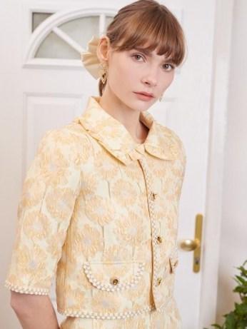sister jane Telegram Jacquard Cropped Jacket / yellow embellished occasion jackets - flipped