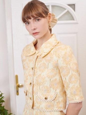 sister jane Telegram Jacquard Cropped Jacket / yellow embellished occasion jackets