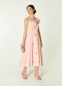 L.K. BENNETT JOLENE PINK TAFFETA BEADED DRESS – bow embellished occasion dresses – vintage style occasionwear – women's summer event clothing