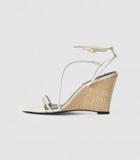 REISS KALI WEDGE LEATHER STRAPPY WEDGED SANDAL OFF WHITE ~ skinny strap wedge heels