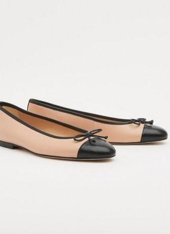 L.K. BENNETT KARA TRENCH BLACK NAPPA LEATHER FLATS / luxe bow detail ballerinas - flipped