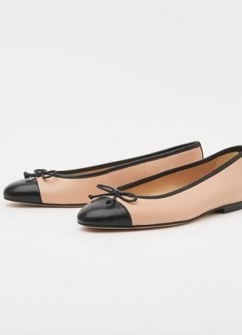 L.K. BENNETT KARA TRENCH BLACK NAPPA LEATHER FLATS / luxe bow detail ballerinas