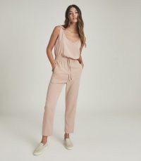 REISS KAT CASUAL STRAIGHT LEG JUMPSUIT BLUSH ~ luxe sports inspired jumpsuits