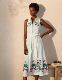 BODEN Kate Linen Shirt Dress Ivory With Multi Embroidery / toucan bird embroidered summer dresses