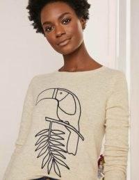 BODEN Kesteven Cashmere Jumper / oatmeal melange toucan bird print jumpers