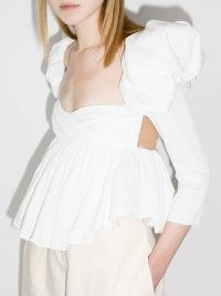 Khaite Kim puff-sleeve top – white ruched babydoll style tops