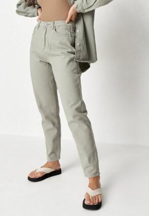 Missguided khaki co ord riot high rise denim mom jeans
