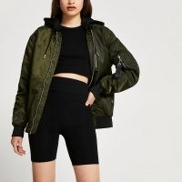 River Island Khaki hooded bomber jacket – green casual zip detail jackets