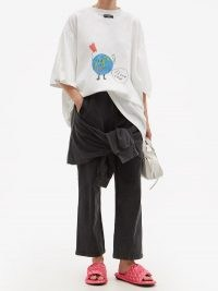 BALENCIAGA Knotted cotton-jersey cropped-leg track pants / sportswear inspired fashion