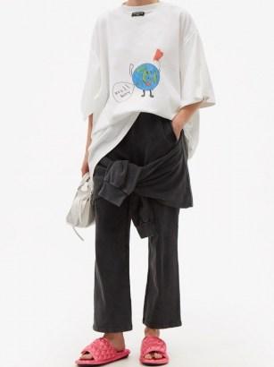 BALENCIAGA Knotted cotton-jersey cropped-leg track pants / sportswear inspired fashion - flipped