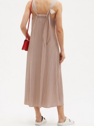 PLEATS PLEASE ISSEY MIYAKE Knotted-strap technical-pleated dress / effortless style summer dresses
