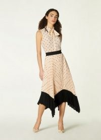 L.K. Bennett KOLLER CREAM AND BLACK POLKA DOT PLEATED SKIRT | handkerchief hem skirts