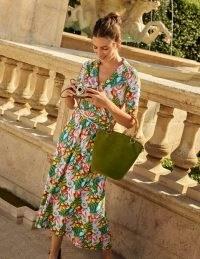 BODEN Lavinia Jersey Wrap Dress Red Oak, Safari Palm / floral summer dresses
