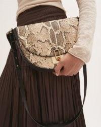 JIGSAW LEATHER AUDLEY SNAKE BAG / glamorous saddle bags