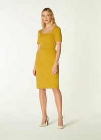 L.K. BENNETT LEONORA YELLOW CREPE BELTED SHIFT DRESS / classic short sleeve square neck dresses