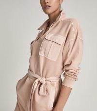 Reiss LILA TWIN POCKET JERSEY DRESS PINK – luxe sport inspired dresses