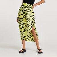 RIVER ISLAND Lime animal print midi skirt / asymmetric twist detail skirts