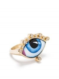 Lito 18kt yellow gold diamond eye ring | mystical evil eye rings | luxe statement jewellery