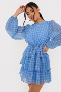 LORNA LUXE BLUE CHECK 'LUCIA' BALLOON SLEEVE TIERED SMOCK DRESS / romantic checked dresses
