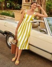 Boden Lucy Jersey Stripe Dress Chartreuse Ivory Stripe   classic style sundress   fresh look summer dresses
