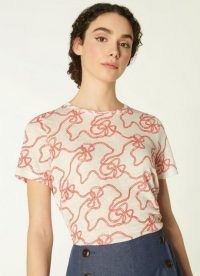 L.K. BENNETT LULU RED AND WHITE ROPE PRINT LINEN T-SHIRT / short sleeve printed tee