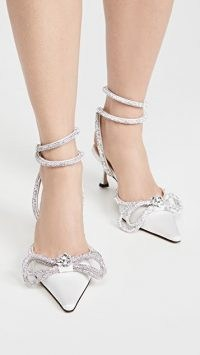 MACH & MACH White Satin Double Bow Pumps – luxe white crystal embellished pointed toe shoes