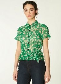 L.K. Bennett MAISIE GREEN DAISY PRINT SILK GEORGETTE BLOUSE   floral vintage style blouses   retro fashion