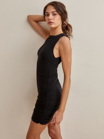 Reformation Maly Dress in Black | sleeveless side ruched fitted mini dresses | LBD - flipped