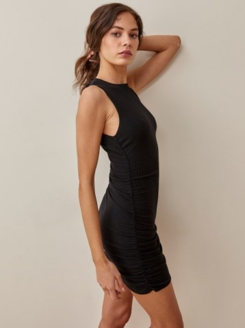 Reformation Maly Dress in Black | sleeveless side ruched fitted mini dresses | LBD