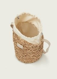 L.K. Bennett MANDY NATURAL RAFFIA CROSSBODY BUCKET BAG | summer bags