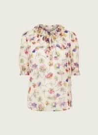 L.K. BENNETT MARGOT CREAM DAISY PRINT CRINKLE GEORGETTE BLOUSE / blouses with vintage floral prints