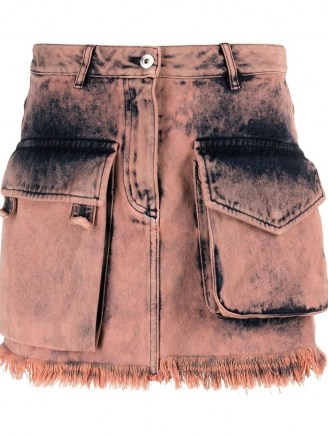 Marques'Almeida acid-wash mini skirt | pink denim utility skirts - flipped