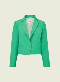 L.K. BENNETT MARTA GREEN LINEN-BLEND BLAZER – jade summer blazers – women's occasion jackets