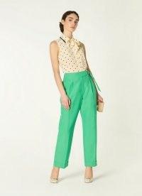 L.K. BENNETT MARTA GREEN LINEN-BLEND TROUSERS – summer occasionwear