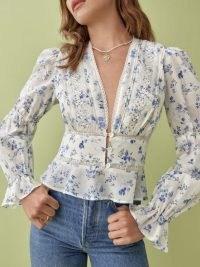 Reformation Meadowlark Top | floral deep V-neck blouses