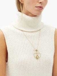 DANIELA VILLEGAS Beaming Love diamond, opal, 18kt gold necklace ~ luxe statement pendant necklaces ~ heart pendants
