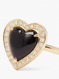 ANISSA KERMICHE Black Heart diamond, onyx & 14kt-gold ring – luxe rings – hearts