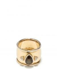 MUKHI SISTERS Black Star diamond & 18kt gold ring ~ chunky wide band rings
