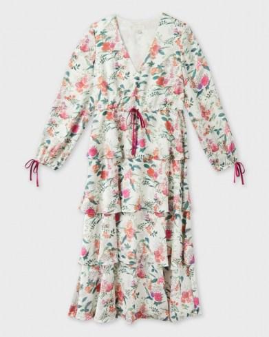 TED BAKER MILLIII Metropolis Printed Tiered Midi Dress / romantic floral dresses - flipped