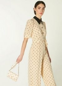 L.K. Bennett MINI DORA CREAM AND BLACK POLKA DOT LEATHER ENVELOPE CLUTCH | small chain strap bags