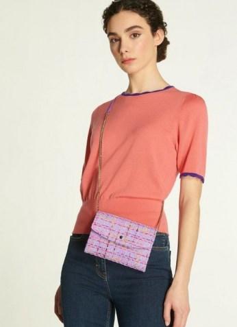 L.K. BENNETT MINI DORA LILAC TWEED ENVELOPE CLUTCH / textured fabric crossbody bags - flipped
