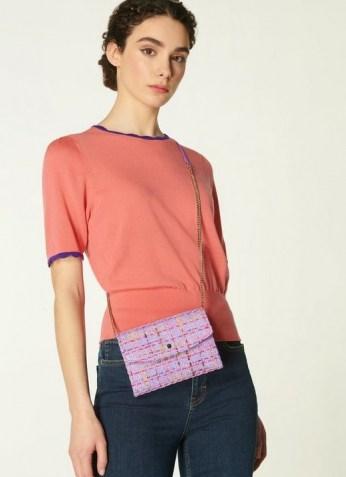 L.K. BENNETT MINI DORA LILAC TWEED ENVELOPE CLUTCH / textured fabric crossbody bags