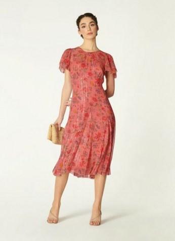 ROYAL ASCOT x L.K. BENNETT MONICA PINK ROMANCE FLORAL PRINT LUREX SILK DRESS