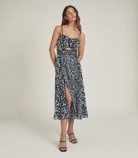 REISS NERISSA PRINTED MIDI DRESS BLUE / cut out detail dresses / front split hem
