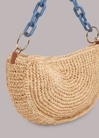 WHISTLES SONNY STRAW HALF MOON BAG / chain strap summer bags