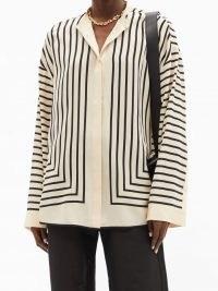 TOTÊME Striped silk crepe de Chine shirt ~ chic loose fit shirts